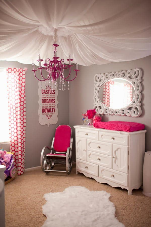 A girl's room with fabric ceiling via frostedpetticoatblog.com