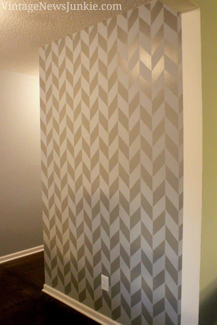 Stenciled herringbone wall | 7 Interesting Ways To Paint Your Walls