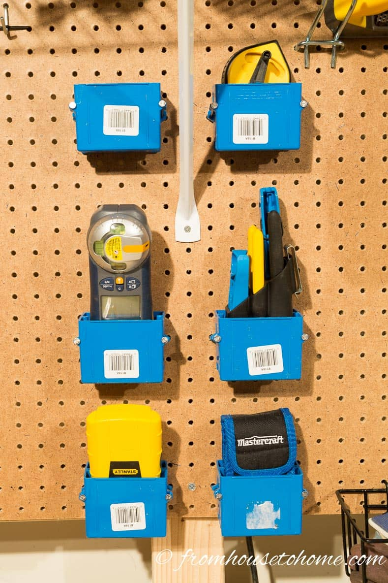 Electrical boxes are perfect for pegboard storage