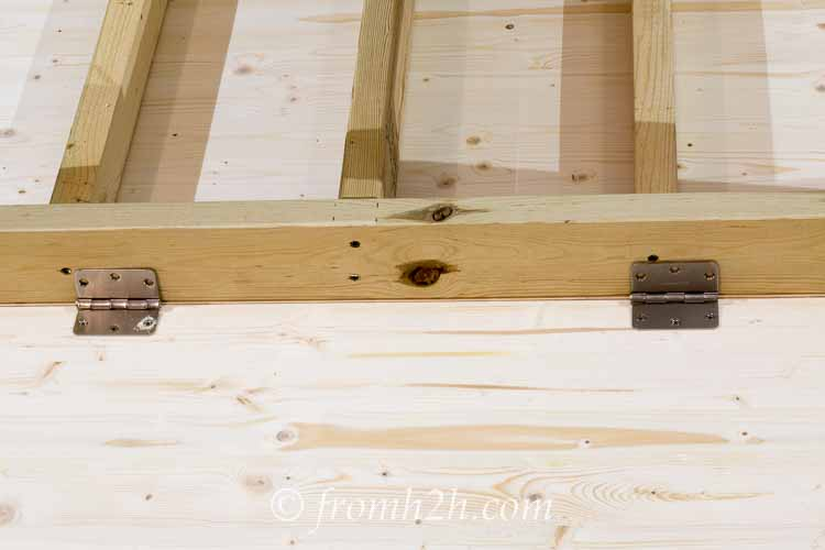 Keep the top pressed as close to the workbench as possible | How To Build a Fold Down Workbench in a Day