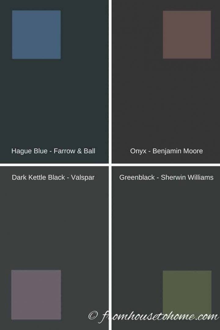 Black paint samples with color swatches