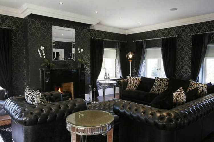 Lots of texture warms up a black room | 7 Tips for Decorating a Black Room (so that it doesn't look like a cave)