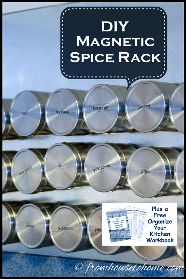 DIY Magnetic Spice Rack (plus a free organize your kitchen workbook) | DIY Magnetic Spice Rack (plus a free organize your kitchen workbook) | Looking for a way to have your spices close at hand when you're cooking? But don't want them taking up any counter space? See how to make this magnetic spice rack that will let them stick to the wall...it solves both problems (and it looks cool, too!)