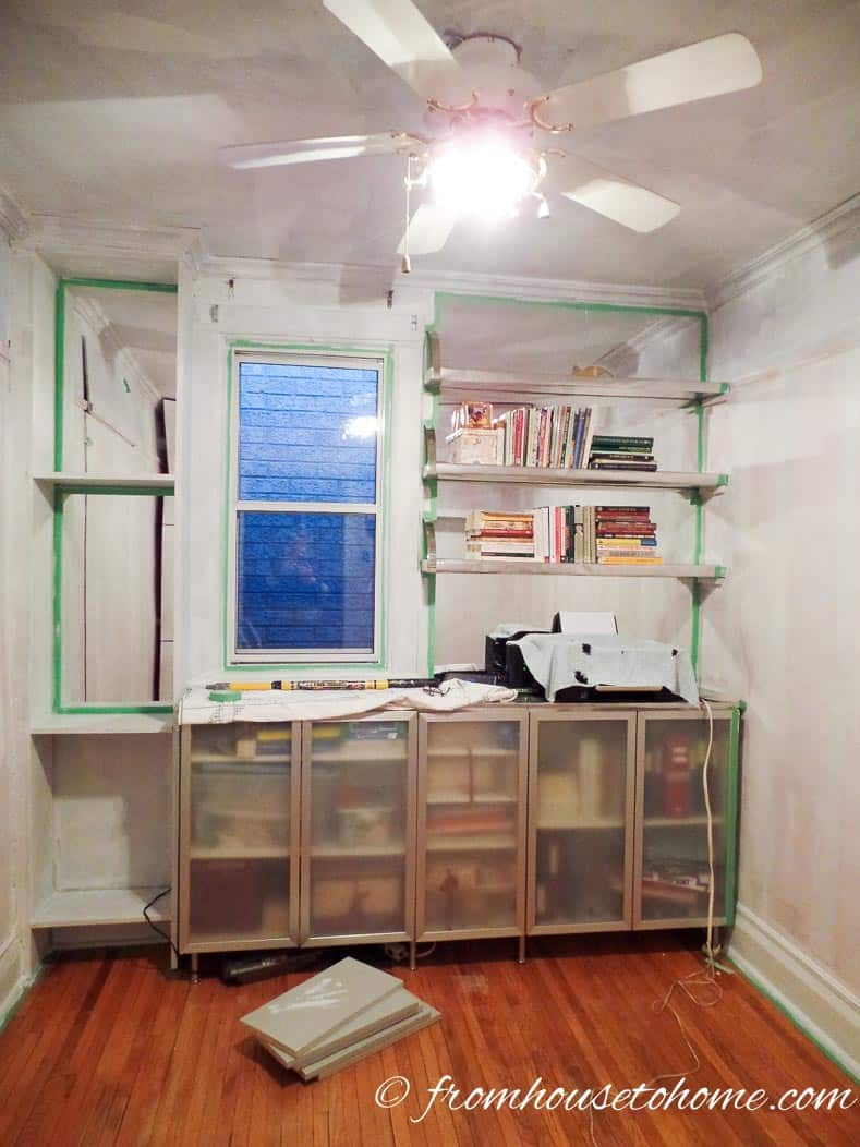 Get the room ready by taking everything out, taping the edges, and priming the walls and ceiling   How To Make Craftsman Style Mouldings