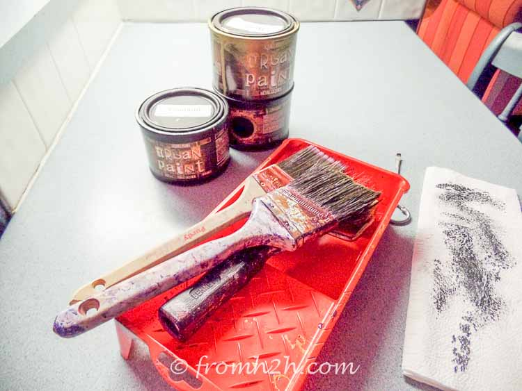 Paint supplies | Urban table makeover using metallic paint