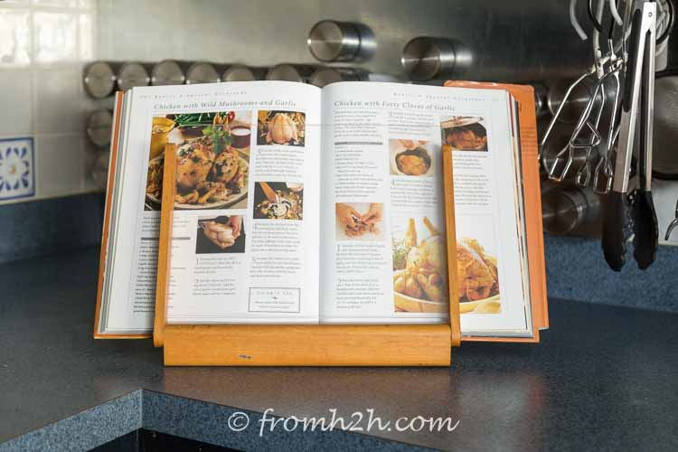 My previous cookbook stand took up too much space on the counter | DIY Under Cabinet Cookbook or iPad Shelf (plus a free organize your kitchen workbook)