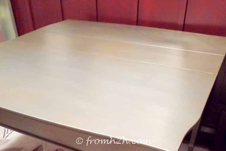 The Titanium adds a silver finish to the metallic look | Urban table makeover using metallic paint
