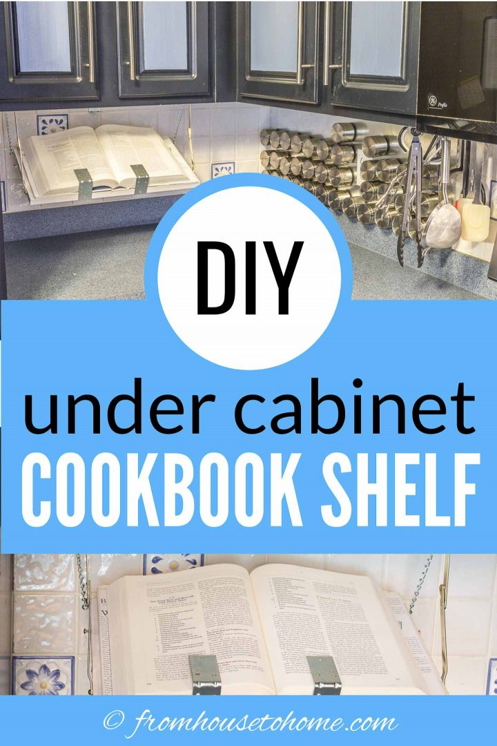 DIY under cabinet cookbook shelf