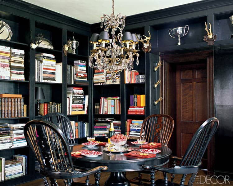 The chandelier adds lots of light and some sparkle to the room | 7 Tips for Decorating a Black Room (so that it doesn't look like a cave)