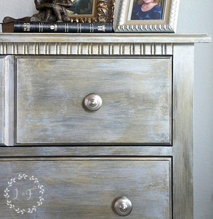 The inspiration nightstand makeover using Fusion Studio Metallics (from lostandfounddecor.com) | Urban desk makeover using metallic paint