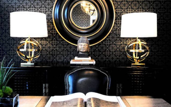Black and gold home office via houzz.com