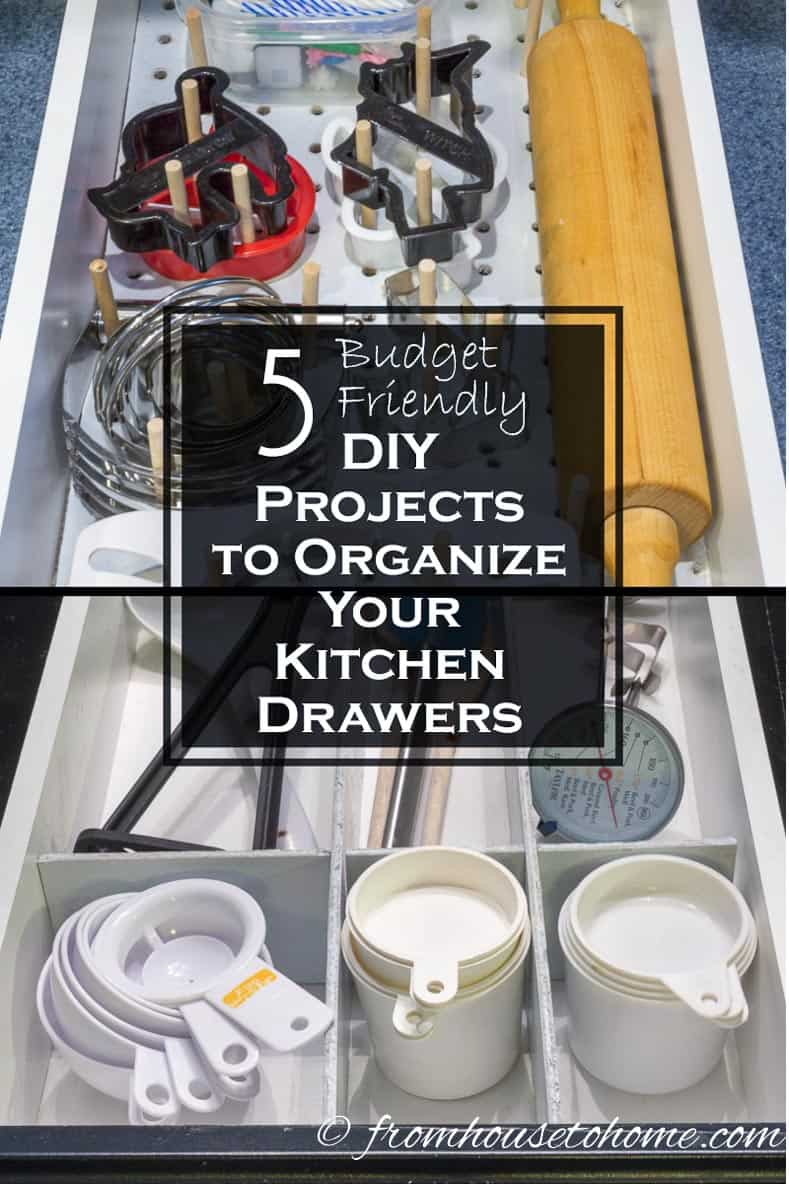 5 DIY Projects to Organize Your Kitchen Drawers   Want to get your kitchen organized without spending a lot of money? Try out these 5 DIY Projects to organize your kitchen drawers.