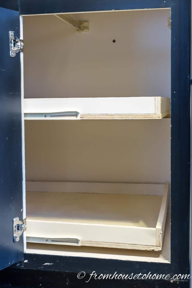 How To Build Pull Out Shelves For A Blind Corner Cabinet