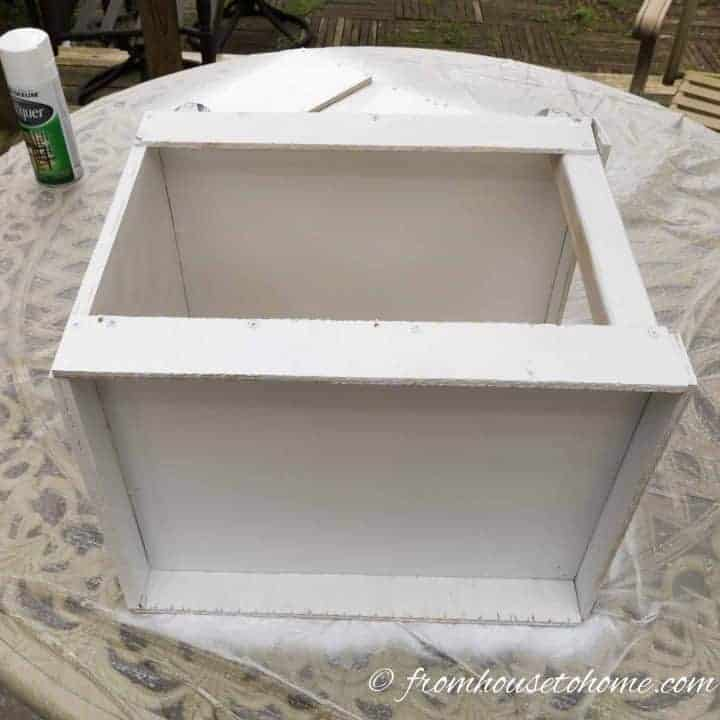 Cupboard ready to be spray painted