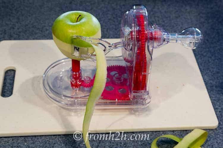 An apple peeler makes peeling easy | Apple Crisp (An Easy Alternative for Apple Pie)