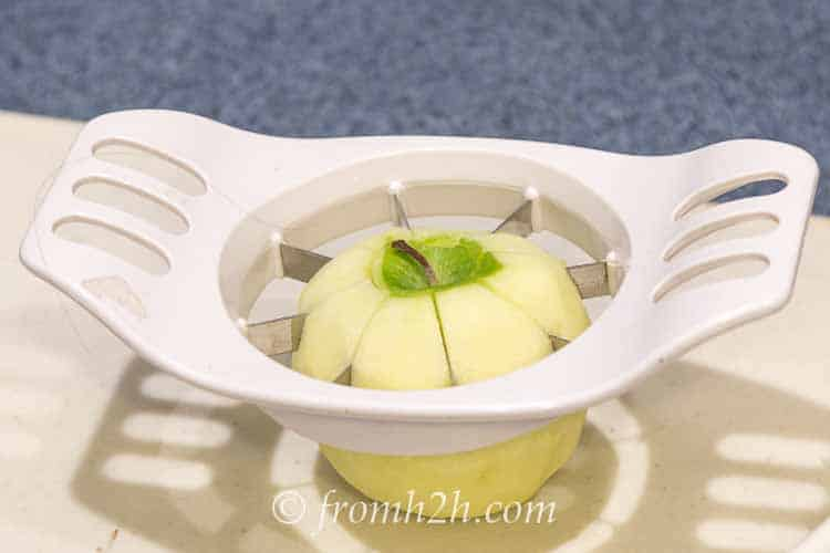 Use an apple corer and slicer to make quick work of preparing the apples   Apple Crisp (An Easy Alternative for Apple Pie)