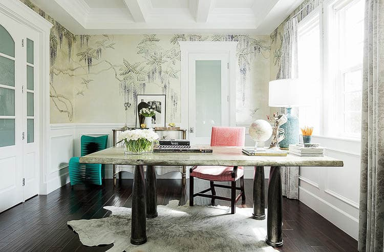Rachel Roy uses a stone top dining table as her desk (as shown on One Kings Lane) | One Room Challenge Week 1 - The Plan For a Home Office Makeover