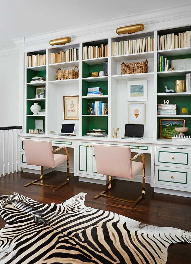 A white, pink and green office by Amie Corley Interiors | One Room Challenge Week 1 - The Plan For a Home Office Makeover