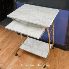 DIY Faux Marble Table (no painting required!)