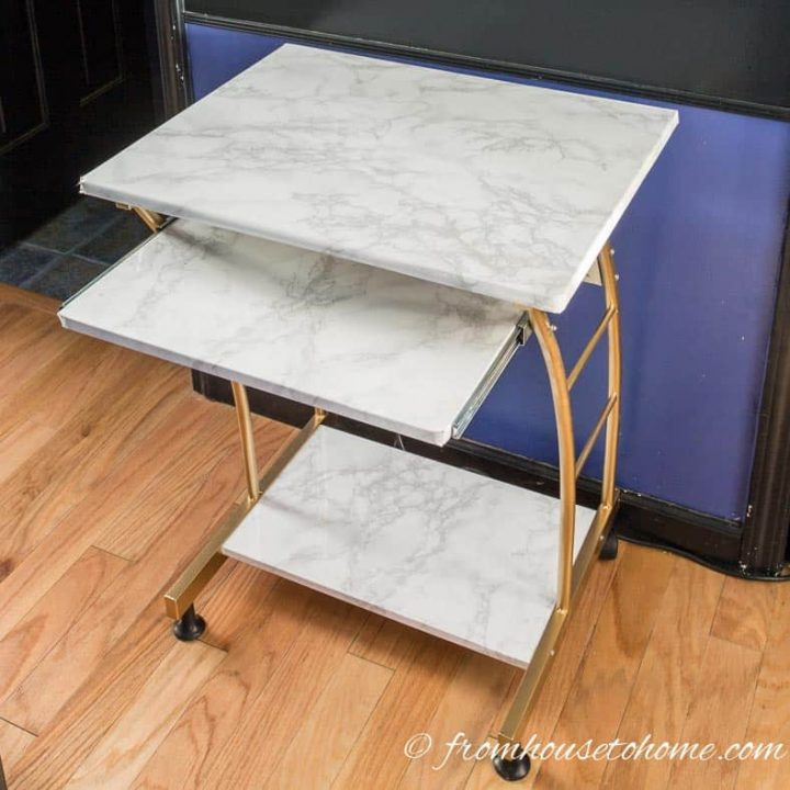 Computer table upgraded with marble contact paper