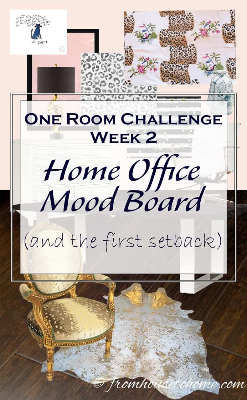 One Room Challenge Week 2 - Home Office Mood Board (and the first set back) | This is week 2 of our home office makeover for the One Room Challenge. Check out the progress we made, the set back we had, and the home office mood board.