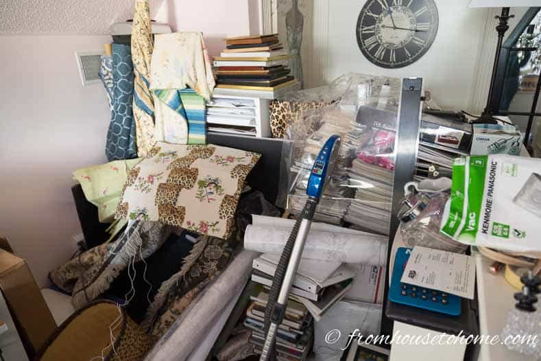 The pile of stuff waiting to get put away in the new office | One Room Challenge Week 2 - Home Office Mood Board (and the first set back)