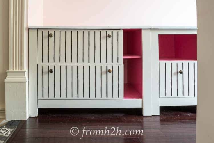 The filing cabinets painted white with black pin stripes and pops of pink   One Room Challenge Week 3 Home Office Makeover: Distracted by Spring (and some painting)