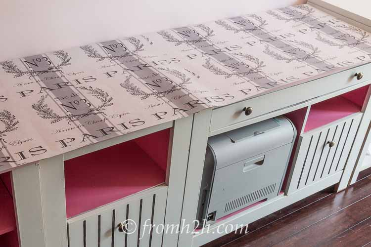 Paris Linen Look Counter Top   One Room Challenge Week 3 Home Office Makeover: Distracted by Spring (and some painting)