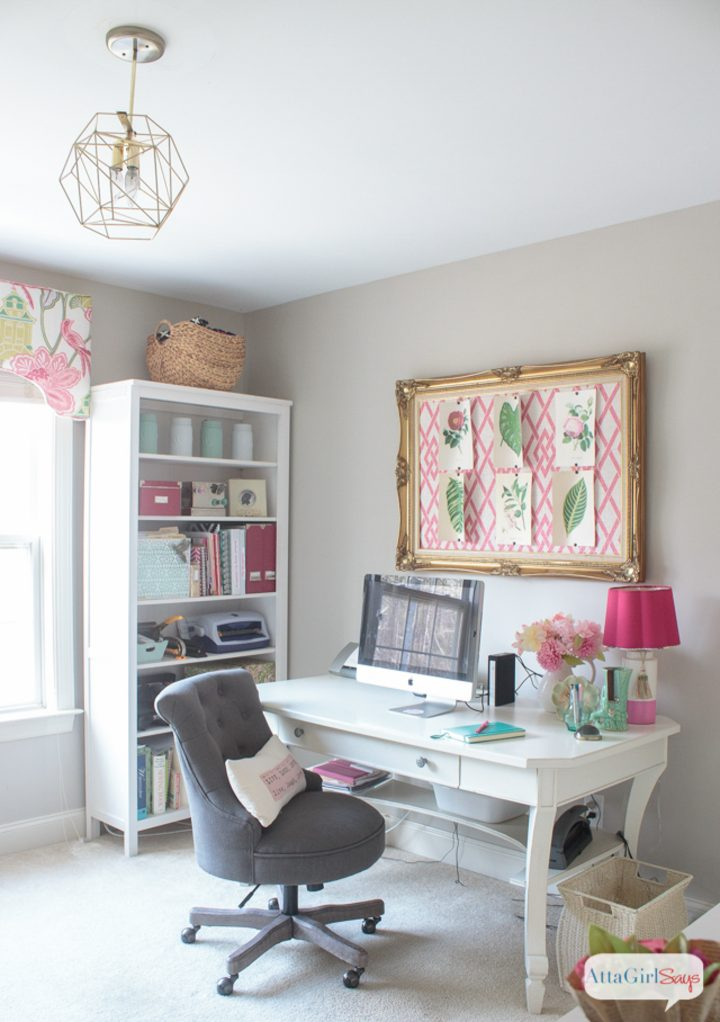 Gold, pink and green home office