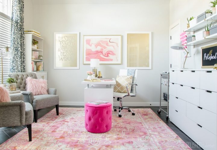 Pink and grey girly glam home office