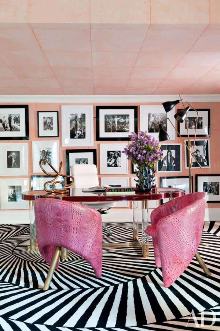 Black, white and pink office with a pink ceiling by Kelly Wearstler, via architecturaldigest.com