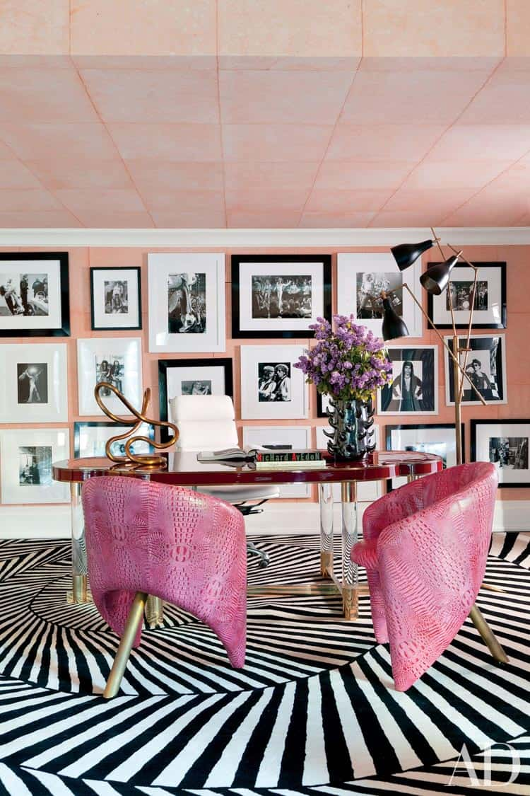 Black, white and pink office design by Kelly Wearstler, in Architectural Digest | One Room Challenge Week 1 - The Plan For a Home Office Makeover