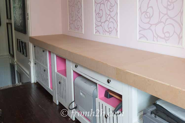 Home office countertop | How To Create Built Ins From Mismatched Furniture