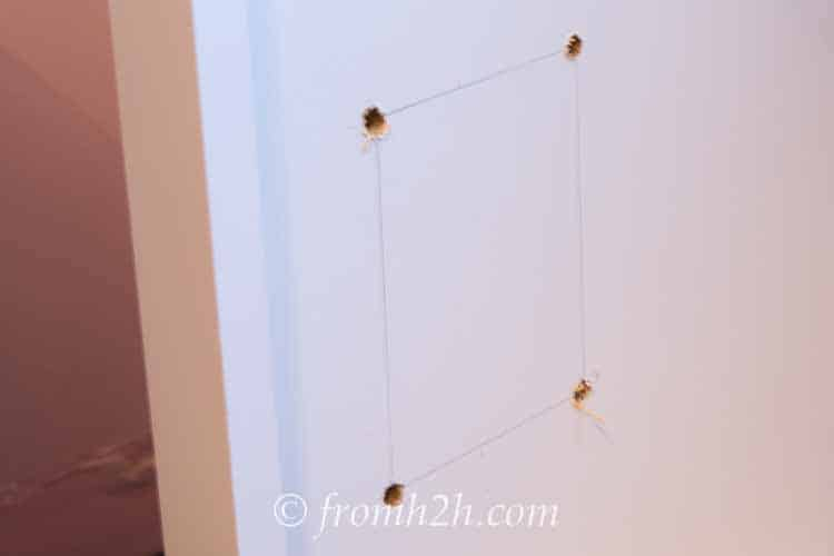 Drill holes at the corners | How To Create Built Ins From Mismatched Furniture