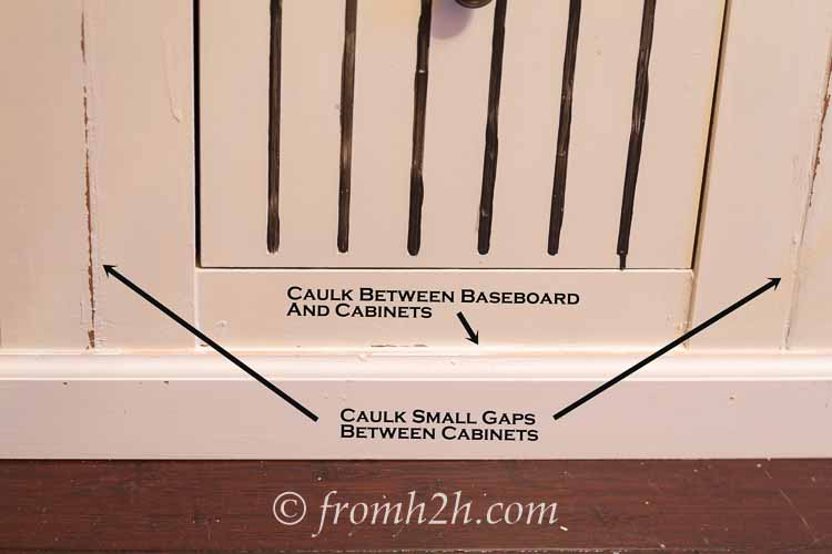 Caulk small gaps | How To Create Built Ins From Mismatched Furniture