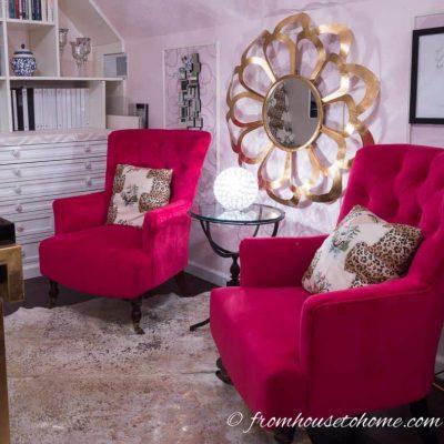 One Room Challenge Week 6: Feminine Glam Home Office Makeover