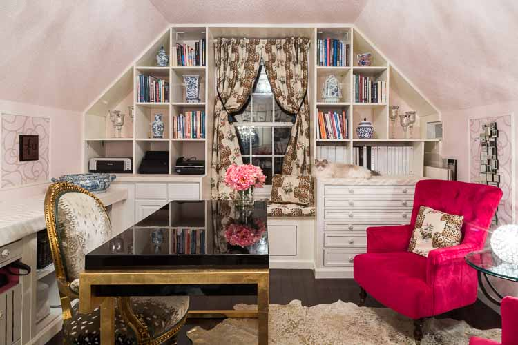 Home office painted in blush pink