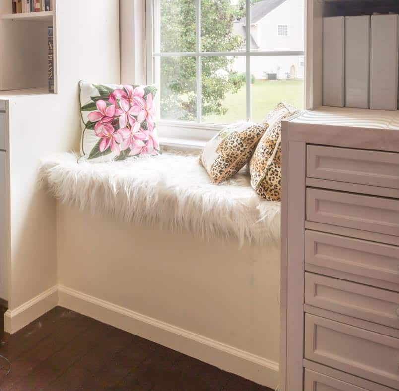 Bonus room window bench | DIY Bonus Room Bookshelves And Window Bench