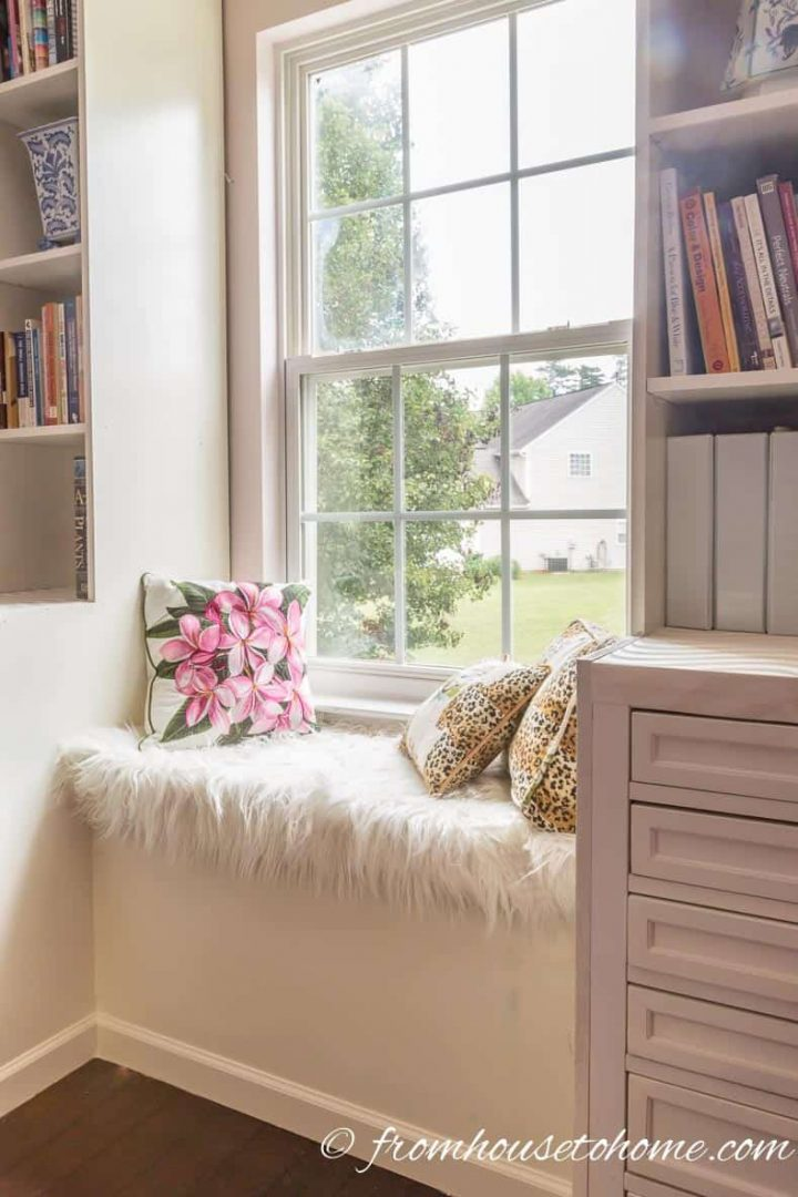 Window bench with a faux fur cushion