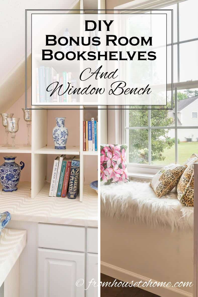 DIY Bonus Room Bookshelves and Window Bench | Have a bonus room that really needs some extra storage? Learn how to make your own DIY Shelves and window bench that fits those angled walls.
