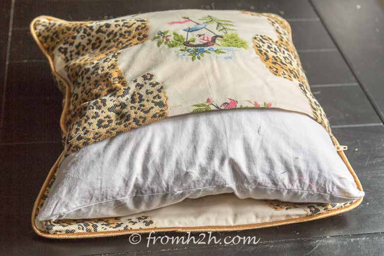 Fitting the cushion in the cover is easy with the wide zipper | How to make cushion covers like a pro