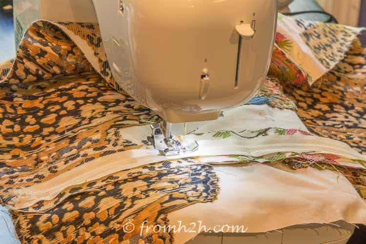 Turn the fabric over and sew the zipper on | How to Make Cushion Covers Like a Pro