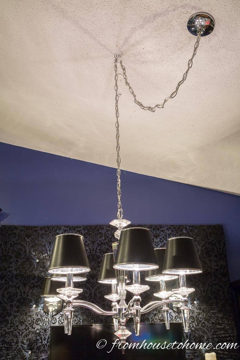 Swag the chain to change the location of the chandelier | How to Hang a Chandelier