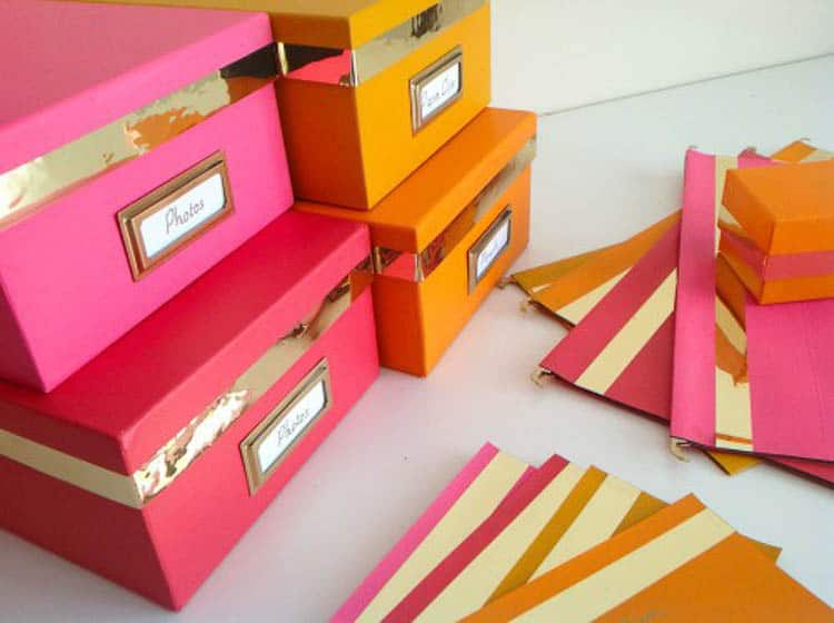 Storage boxes in bright pink and orange via mydearirene.com