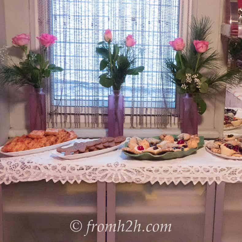 The wall unit set up as a buffet | How To Fit 5 Functions In One Small Multipurpose Room