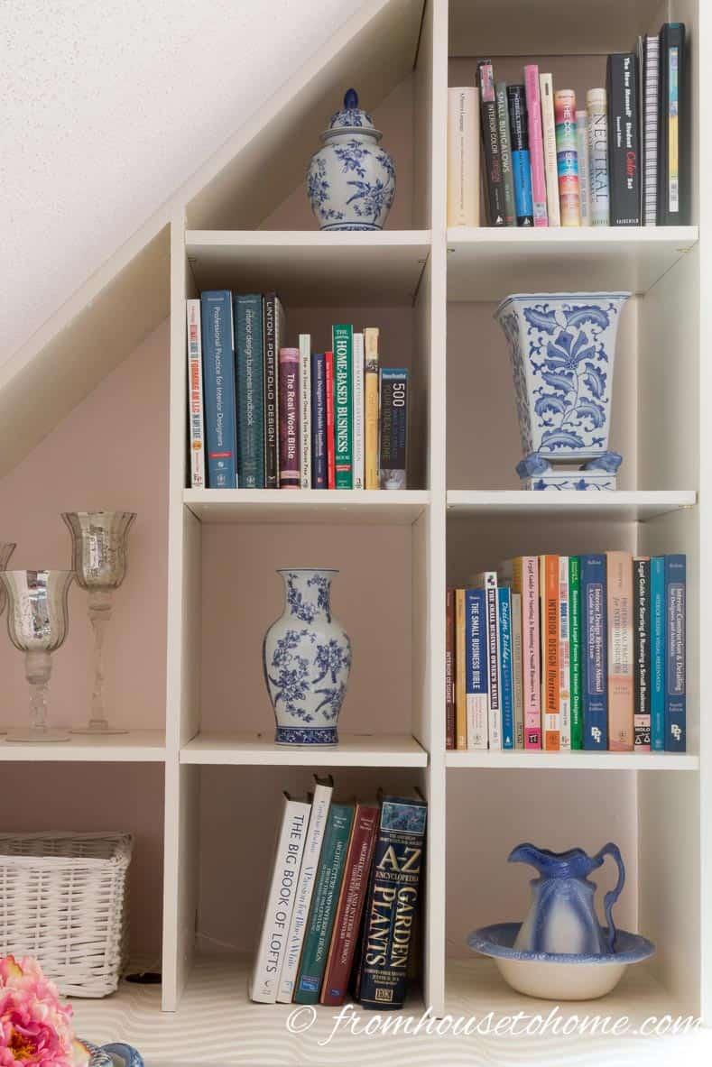 Blue and white vases on shelves