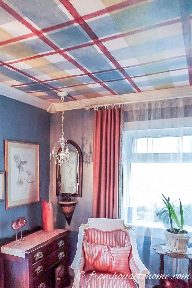 A plaid ceiling adds a new dimension to the room