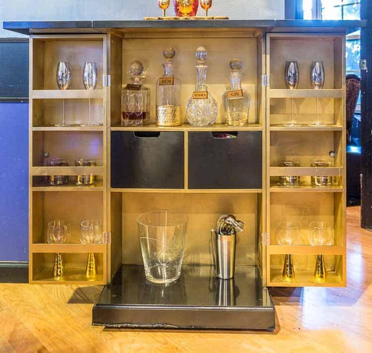 The re-stocked bar | DIY Hollywood Regency Bar Cabinet Makeover