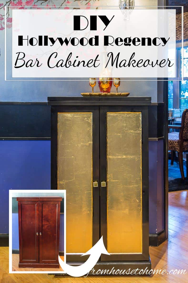 DIY Hollywood Regency Bar Cabinet Makeover | Looking for a way to update a boring piece of furniture? Try this DIY Hollywood Regency Bar Cabinet Makeover to add some glam to your room.