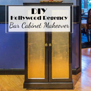 DIY Hollywood Regency Bar Cabinet Makeover
